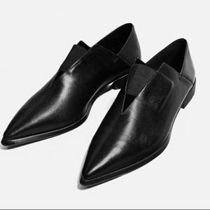 Zara pointed toe black stretch leather shoes flats